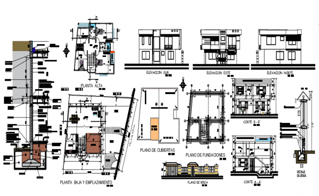 Floor plan with elevation of housing area with architecture view dwg file