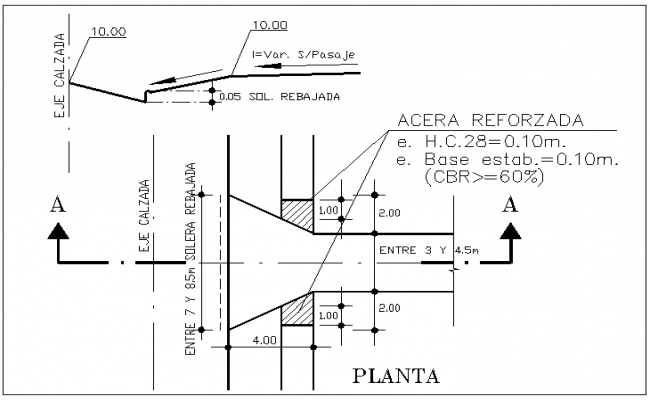 Floor slab and beam connection plan view detail dwg file