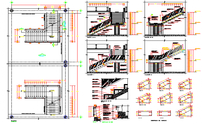 Floor vise staircase sectional and construction details of shopping center dwg file