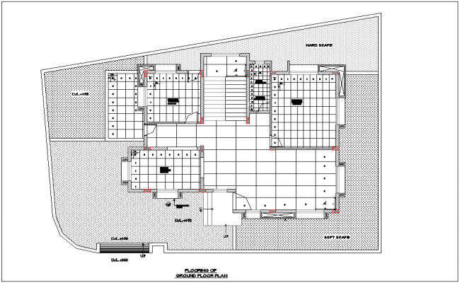 Flooring view with tile sanitary view for bungalows of ground floor dwg file