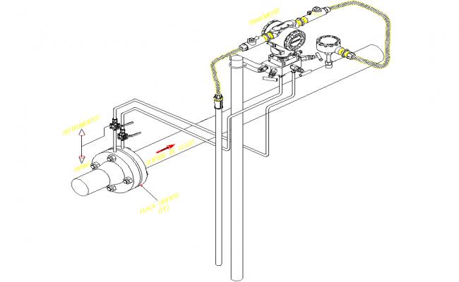 Flow transmitter 3 D plan detail dwg file