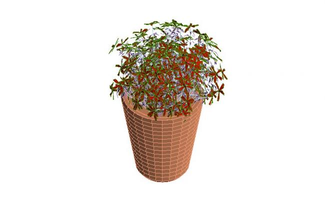 Flower basket with flower plant 3d block cad drawing details dwg file