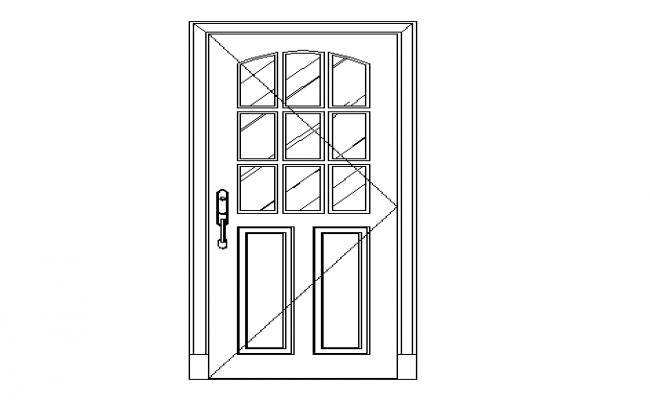 Flush panelled type of door dwg file