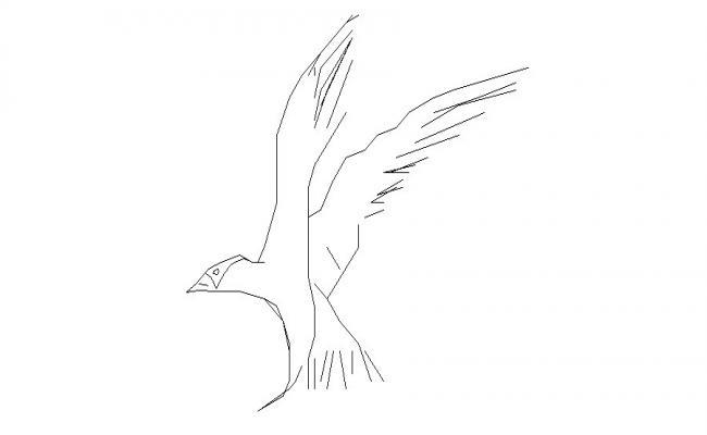 Flying bird elevation block cad drawing details dwg file