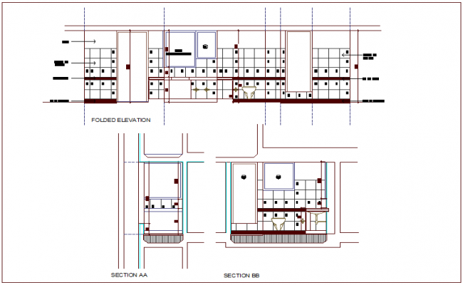 Folded elevation and section view for bathroom and toilet dwg file
