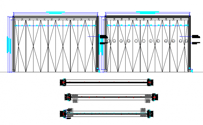 Folding door detail section dwg file