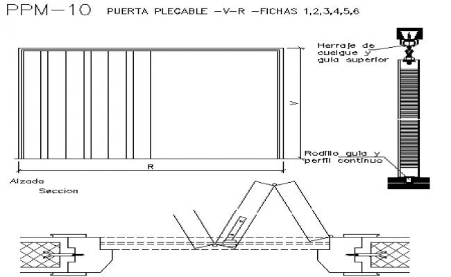 Folding door installation details of office dwg file