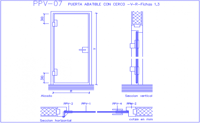 Folding door with coerce and sectional view dwg file