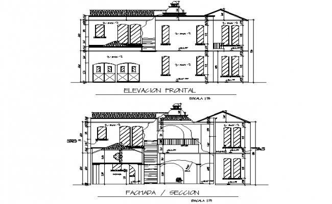 Font elevation and section detail dwg file