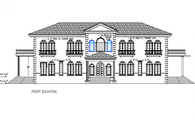 Font elevation house autocad file