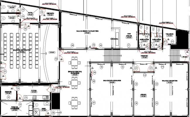 Food court in school, auditorium layout dwg file