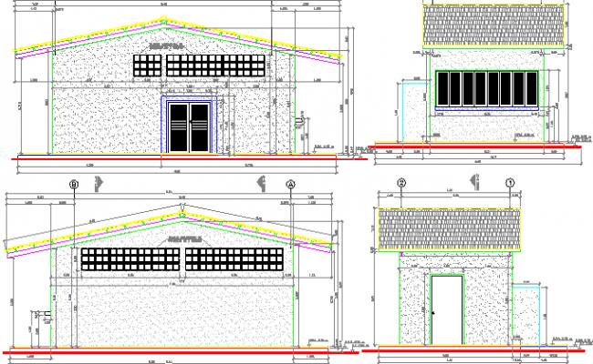 Food unit handler design and elevation dwg file