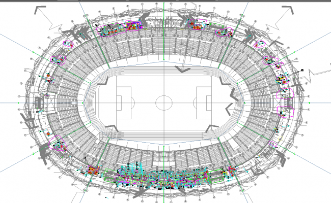 football stadium architecture master plan in cad