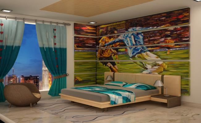 Football Theme Design Teen Age Bed Room