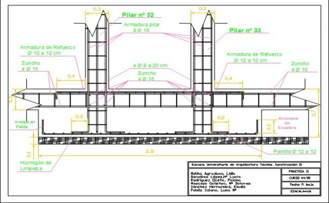 Footing  detail section drawing.