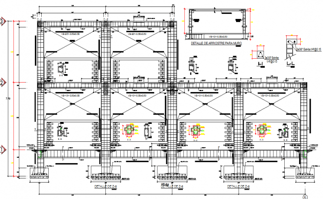 Footing Column and beam structural detail dwg file