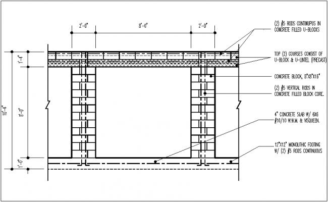 Footing and slab view with detail dwg file