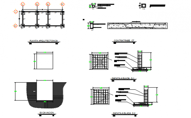 Footing detail, roof detail and table detail, slab detail dwg file