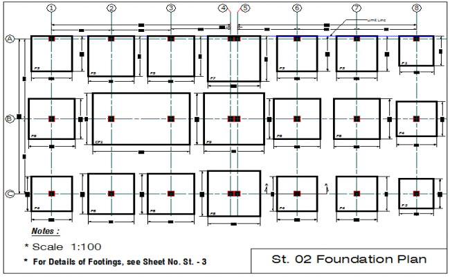 Footing detail and plan layout detail dwg file