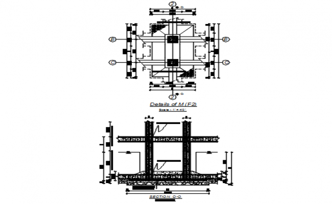 Footing detail pan and section detail dwg file