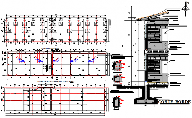 Footing plan, elevation and section detail dwg file