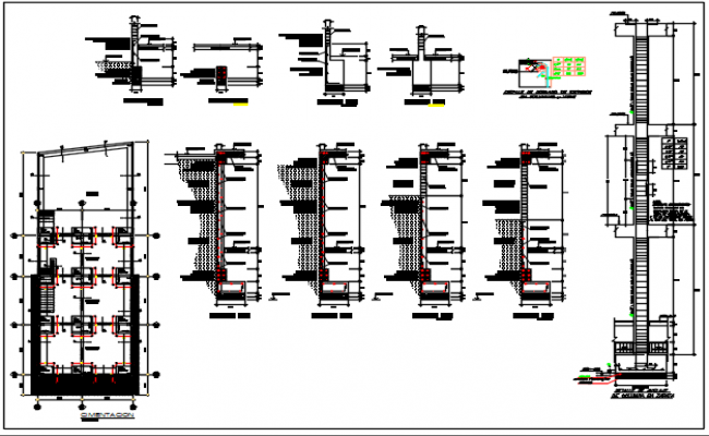 Footing plan and T beam detail dwg file