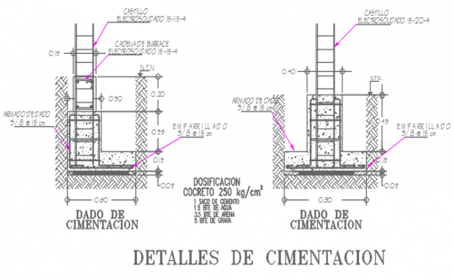 Footing plan and elevation detail dwg file