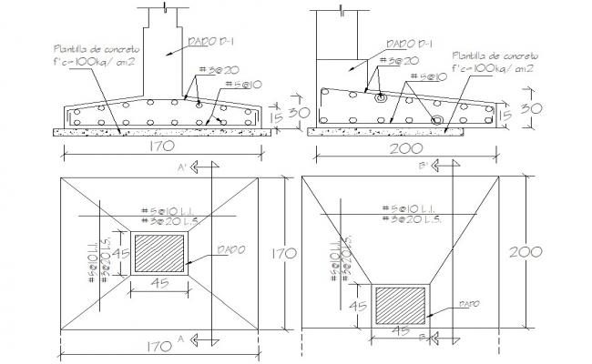 Footing plan of RCC structure dwg file