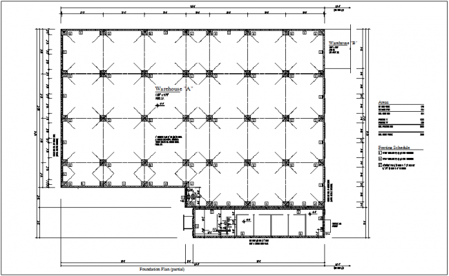 Footing view of ware house plan dwg file