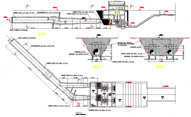 Forced pipe plan detail dwg file