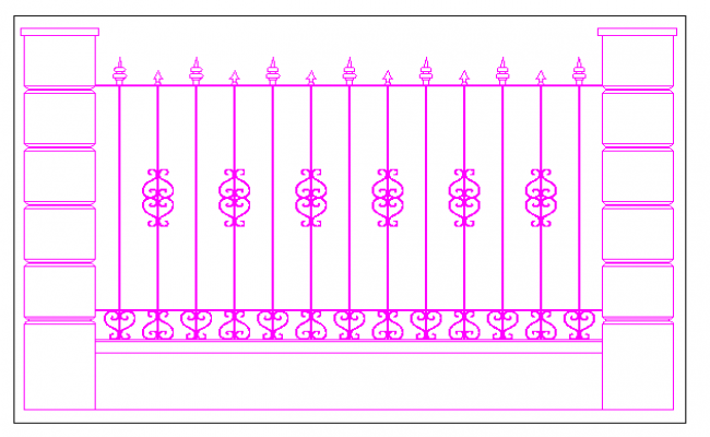 Forged fence between pillars of masonry dwg file