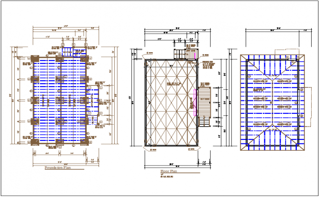 Foundation, floor and roof plan layout view in detail information dwg file