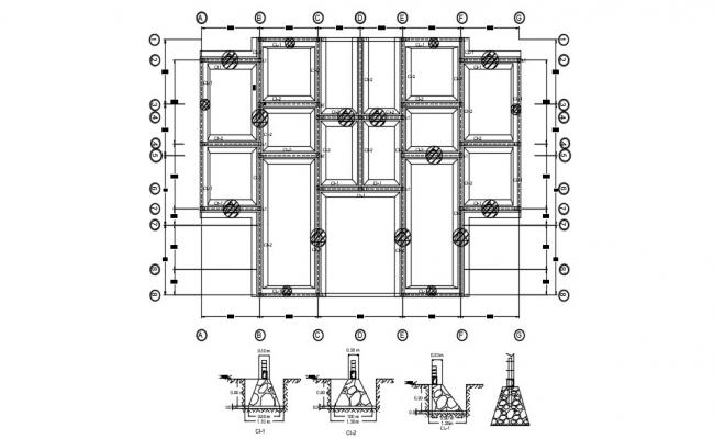 Foundation Footing  Drawing with center line AutoCAD File Free