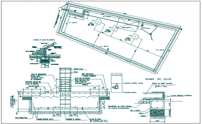 Foundation Structure detail view dwg file