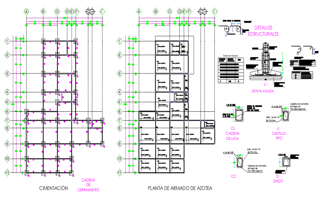 Foundation and beam plan autocad file