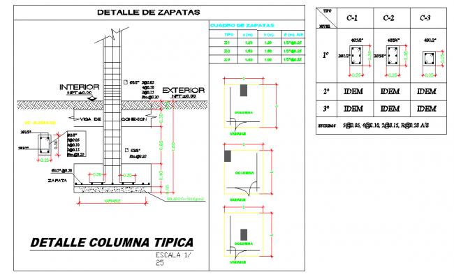 Foundation and column autocad file