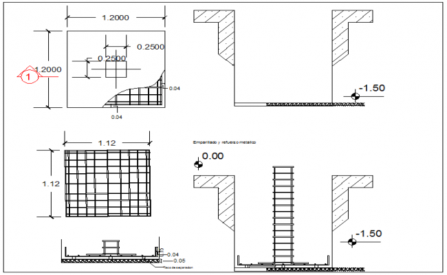 Foundation & column connection section elevation view detail dwg file