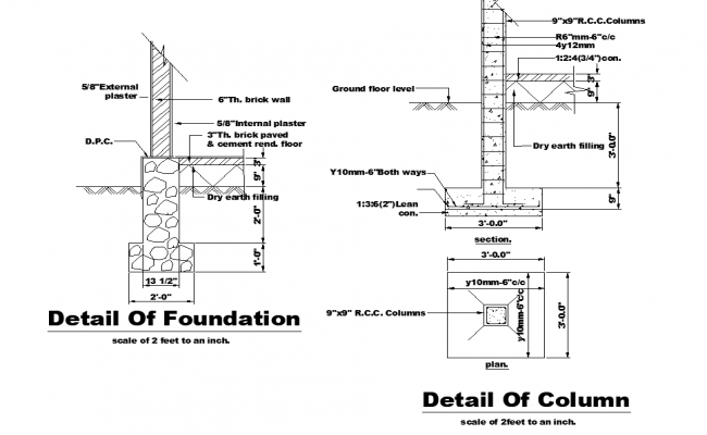 Foundation and column detail dwg file