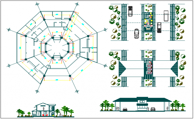Foundation and column plan layout detail view dwg file