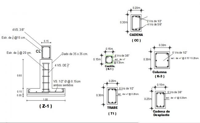 Foundation and column section detail dwg file