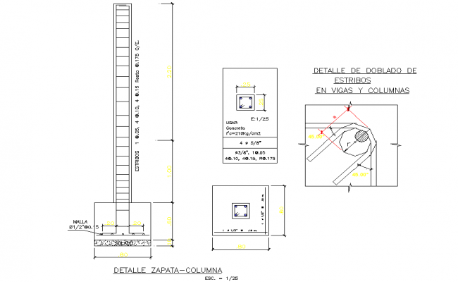 Foundation and column section dwg file