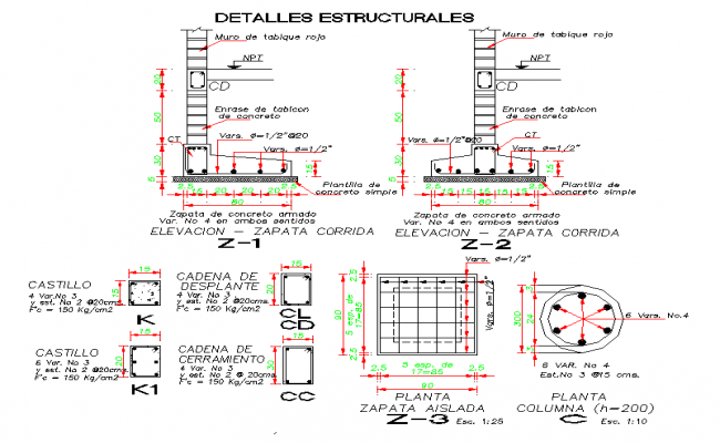 Foundation and column section plan detail dwg file