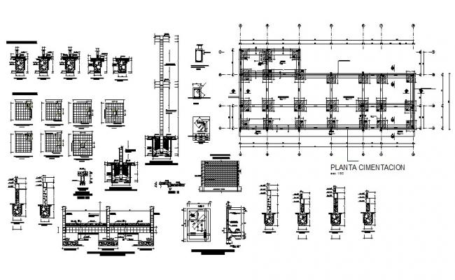 Foundation and construction details of building cad drawing details dwg file