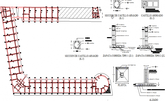 Foundation and construction details of shopping center dwg file