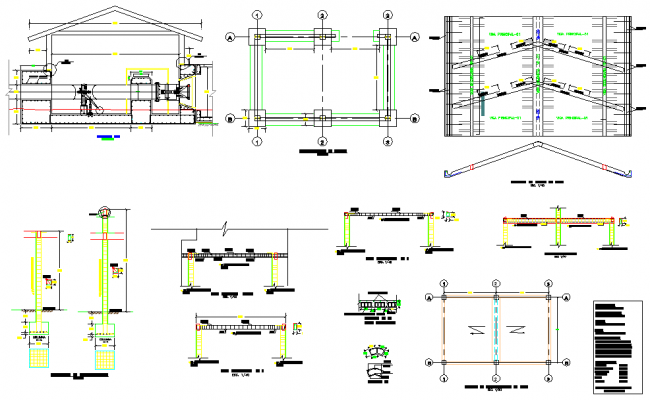 Foundation and roof plan detail autocad file