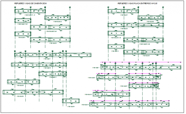 Foundation beam reinforcement plan detail view dwg file