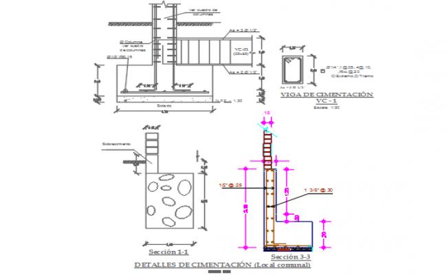 Foundation beam working plan detail dwg file