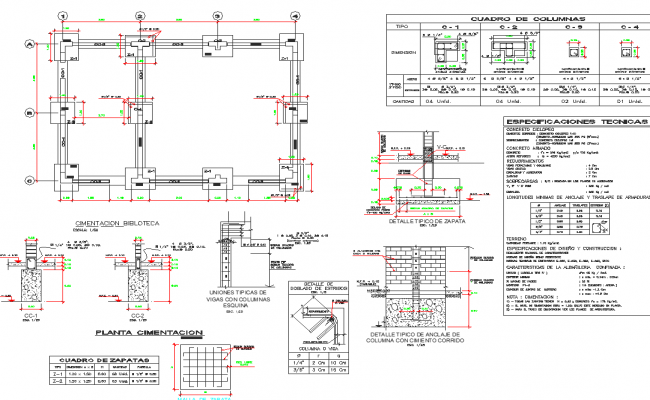 Foundation building plan detail dwg file
