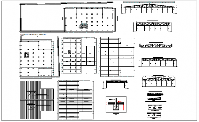 Foundation detail structure of section view and plan layout view of series arranging column position at site detail view dwg file