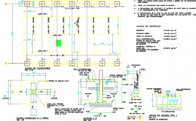 Foundation details with column construction of house dwg file